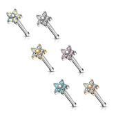 6PC Value Pack Five-CZ Flower Top Steel Nose Rings