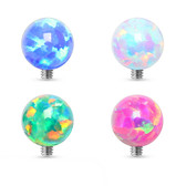 Synthetic Opal Ball Steel Dermal Anchor Top