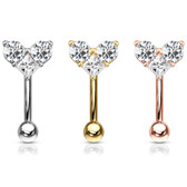 CZ Trio Heart Steel Eyebrow Ring Curved Barbell