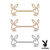 PAIR - Beaded Edge Playboy Bunny Nipple Ring Barbells