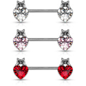 PAIR - Cat & Heart Steel Nipple Ring Barbells