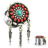 "Tribal Flower Triple Feather Dangle Plugs (0g-5/8"")"