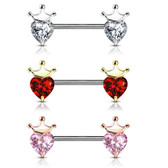 PAIR - Heart CZ Crown Steel Nipple Ring Barbells