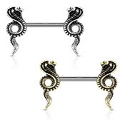 PAIR - Cobra Snakes Steel Nipple Ring Barbells