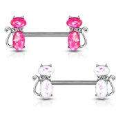PAIR - Opalescent Cats Steel Nipple Ring Barbells