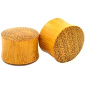 "Solid Yellow Jackfruit Wood Saddle Ear Plugs (2g-1"")"