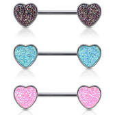 PAIR - Faux Druzy Stone Heart Steel Nipple Rings