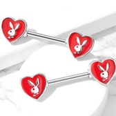 PAIR - Red Enamel Heart Playboy Bunny Nipple Rings