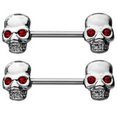 PAIR - Red Eye Skulls Steel Nipple Ring Barbells