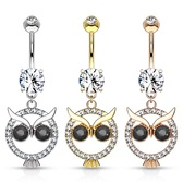 Night Owl Dangle Steel Belly Ring