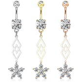 Double Rhombus Flower Dangle Steel Belly Ring