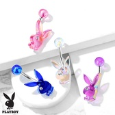 AB Tint Acrylic Playboy Bunny Steel Belly Ring
