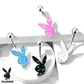 Opalescent Glitter Playboy Bunny Steel Belly Ring