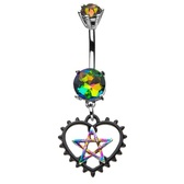 Black Heart Rainbow Pentagram Dangle Belly Ring