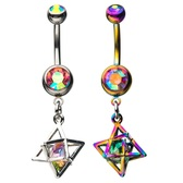 Caged Rainbow Gem Accent Dangle Belly Ring