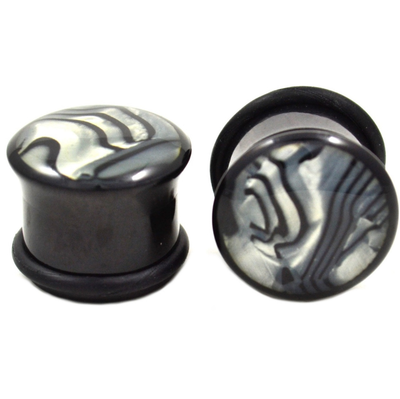 Zebra Shell Acrylic Single Flared Ear Plugs 6g 1
