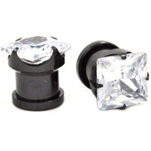 Clear Square Shaped Gem Titanium Tunnels (8g-00g)
