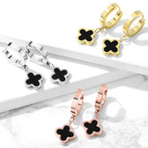 Black Enamel Clover Dangle Steel Earrings