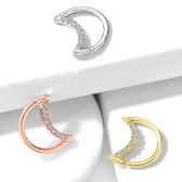 Crystal Lined Crescent Moon Cartilage/Daith Ring 16G
