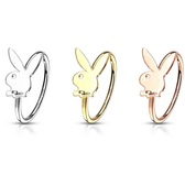 Playboy Bunny Steel Nose Ring Hoop 20G