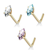 14Kt Yellow Gold Marquise CZ L Shaped Nose Ring