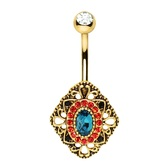 Multi-Color Ornate Rhombus Steel Belly Ring