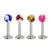 4PC Lot Dual Tone Marble Ball Top Labret Monroes