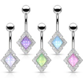 Luminous Epoxy Stone Rhombus Belly Ring