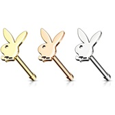 Playboy Bunny Steel Nose Ring Bone 20G