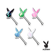 Opalescent Glitter Playboy Bunny Nose Ring Bone 20G