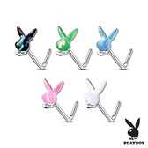 Opalescent Glitter Playboy Bunny L-Shaped Nose Ring