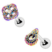 2PC Set Rainbow Flower & Teardrop Cartilage Studs