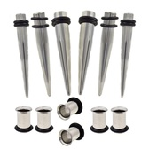 12Pc Ear Stretching Kit 2G-0G Steel Tapers/Tunnels