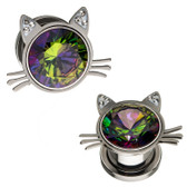 "Rainbow Center Kitty Steel Screw Fit Tunnels (2g-1/2"")"
