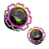 "Rainbow Center Half Hearted Steel Plugs (2g-1/2"")"