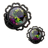 "Rainbow Center Half Hearted Black Plugs (2g-1/2"")"