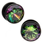 "Dark Rainbow Accent Center Black Steel Plugs (8g-1/2"")"