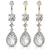 Super Jeweled Teardrop CZ Dangle Steel Belly Ring