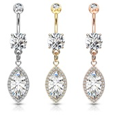 Super Jeweled Marquise CZ Dangle Steel Belly Ring
