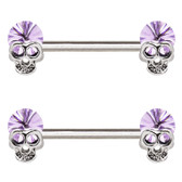 PAIR - Lavender Skull Steel Nipple Ring Barbells