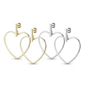 Bar & Heart Dangle Stainless Steel Stud Earrings