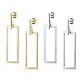 Bar & Rectangle Dangle Stainless Steel Stud Earrings