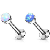 2PC Synthetic Opal Push Top Steel Labret Monroe Studs