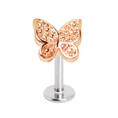 Two-Tone Butterfly Top Steel Labret Monroe Stud