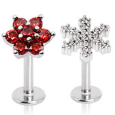 2PC Snowflake & Flower Top Steel Labret Monroe Studs