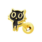 Black Cat Goldtone Steel Cartilage Tragus Stud 16G