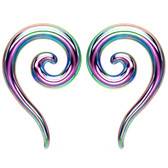 Rainbow PVD Steel Spiral & Tail Tapers (12G-0G)