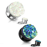 "2 Pair Druzy Stone Steel Screw Fit Plugs (2g-5/8"")"