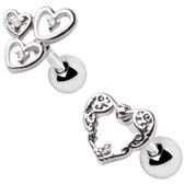 2PC Set Hearts Steel Cartilage Studs