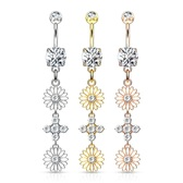 Double Flower Dangle Steel Belly Ring